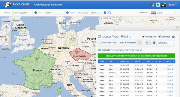Český startupový projekt Skypicker hledá levné letenky po Evropě.