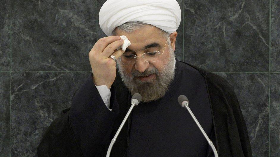 Íránský prezident Hasan Rúhání při projevu ve Valném shromáždění OSN