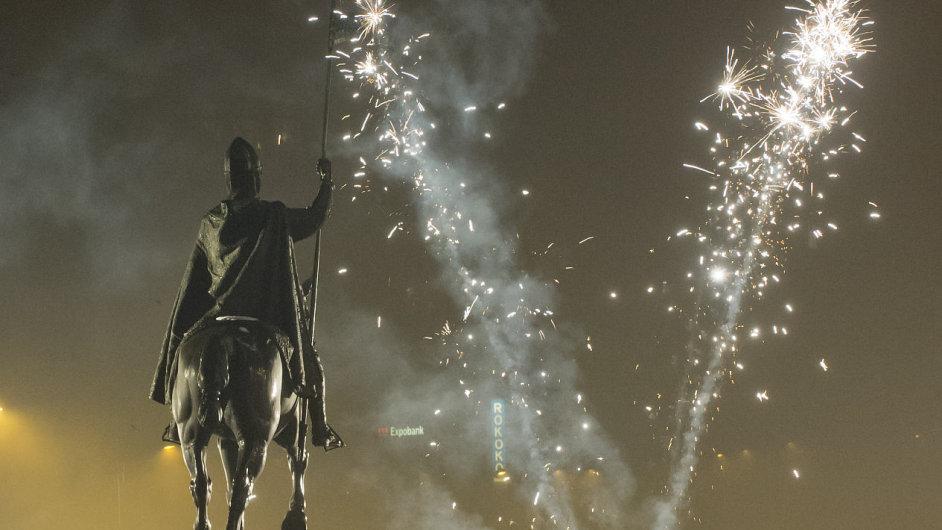 Novoroční oslavy na pražském Václavském náměstí