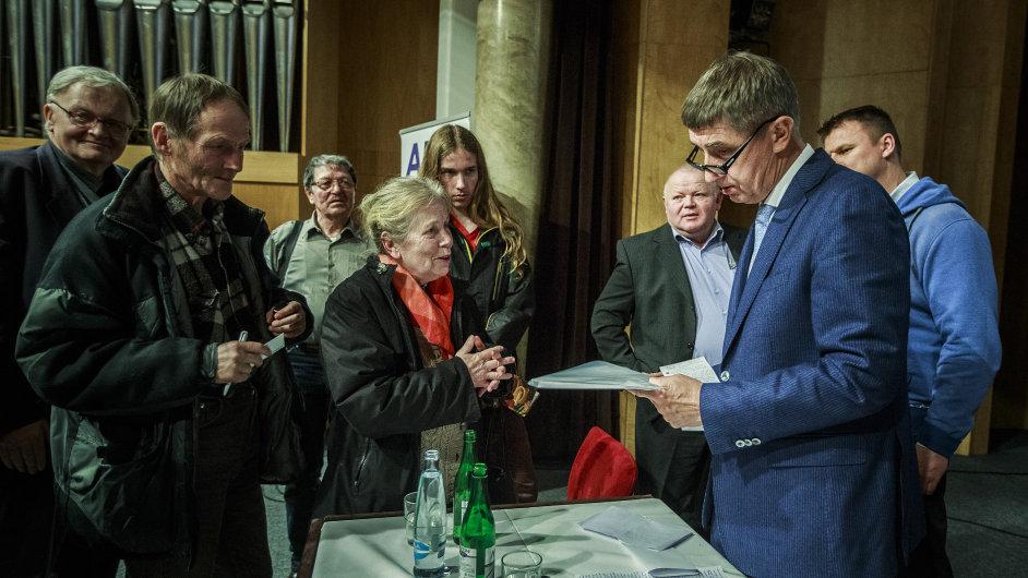 Andrej Babiš na besedě s voliči v Ostravě