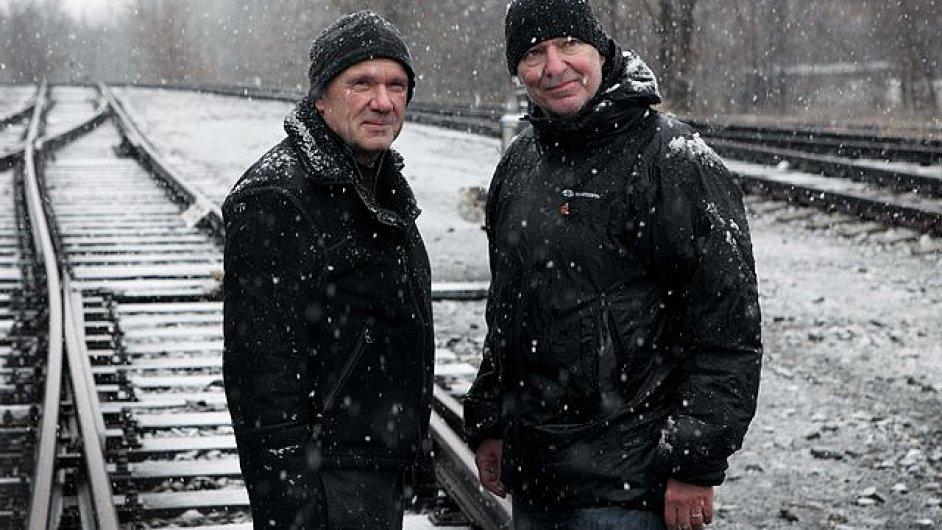 Petr Nikolaev a Jiří Průša v kolejišti vršovického depa