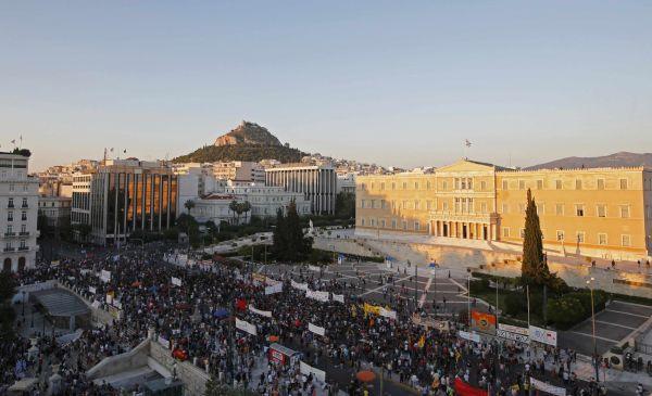Atény, protesty proti návrhu věřitelů