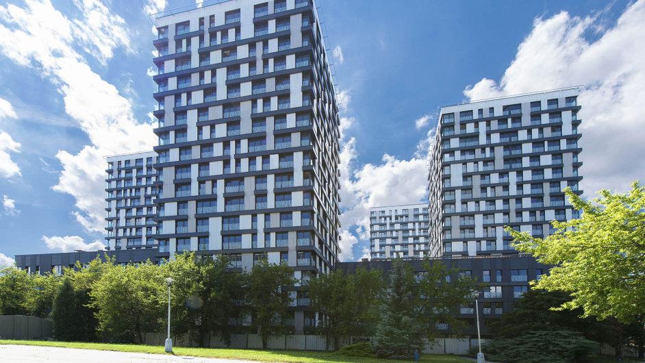 Residence Garden Towers: Největší vletošním roce dokončený bytový dům stojí vPraze-Žižkově. Vjeho pěti 18podlažních věžích je celkem 700 bytů.