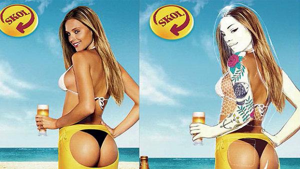 Brazilský Skol nechal výtvarnice obléct ženy ze svých starých reklam.