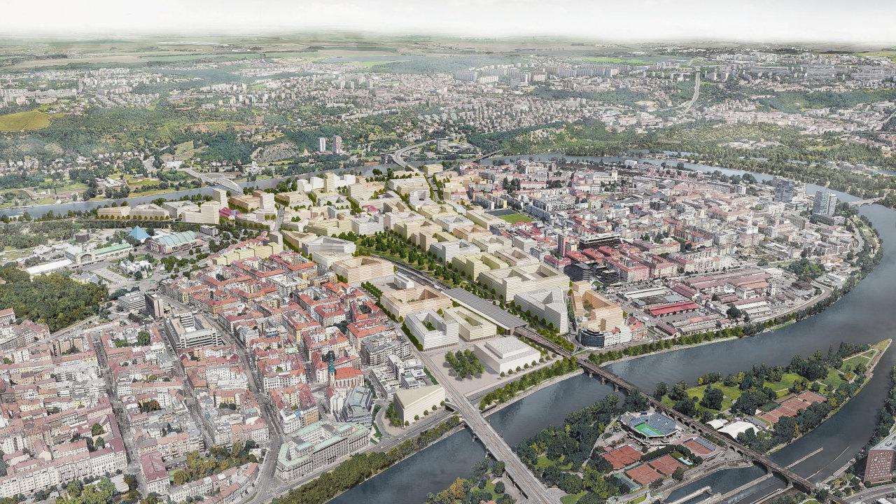Nová čtvrť Praha - Bubny - vizualizace od Institutu plánování a rozvoje Prahy.