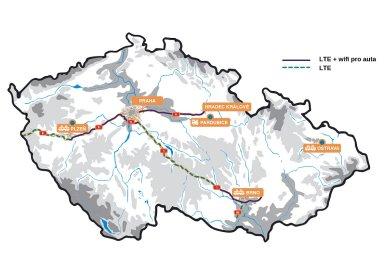 Mapa lokalit, ve kterých probíhá testování systému C-Roads v České republice.