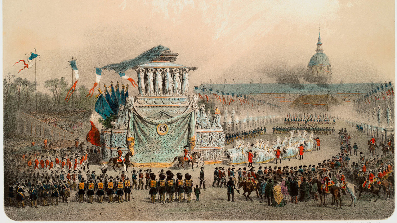 Sláva tehdy inyní. Francouzi před 180 lety přivítali návrat ostatků Napoleona Bonaparteho zexilu dovlasti. Místo styranovým tělem mají vúctě idnes.