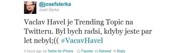 Václav Havel mezi trending topics na Twitteru