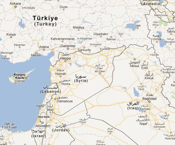 Mapa Sýrie a přilehlých oblastí