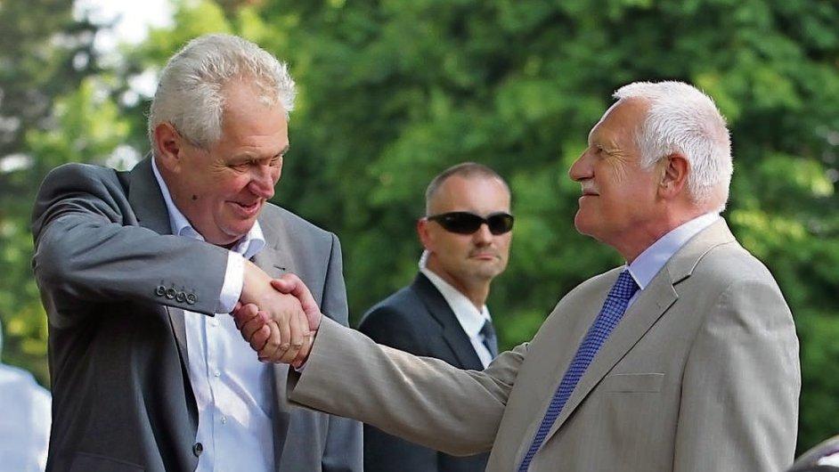 Václav Klaus na své oslavě s Milošem Zemanem