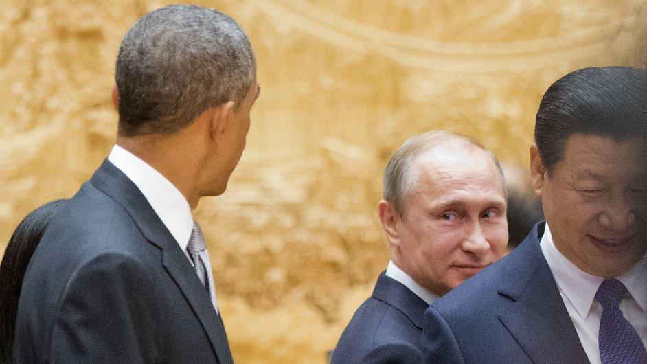 Ruský prezident Putin a jeho americký protějšek Obama