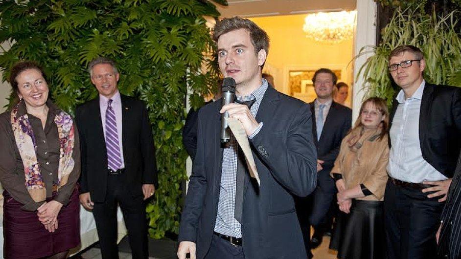 Ondřej Krátký z vítězného start-upu Liftago při vyhlášení cen ve vile Richter