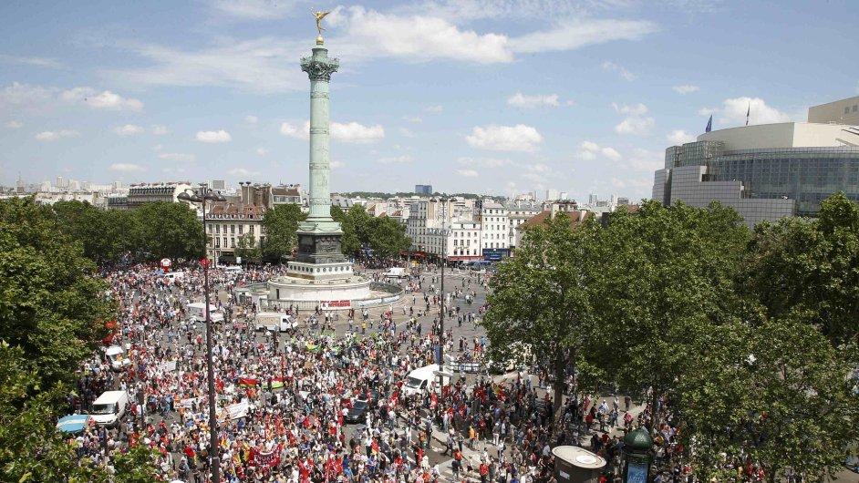 Protesty ve Francii, náměstí Bastily, Paříž