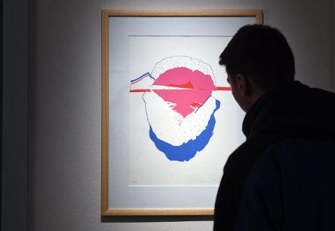 Snímek z výstavy děl Adrieny Šimotové a Václava Boštíka.