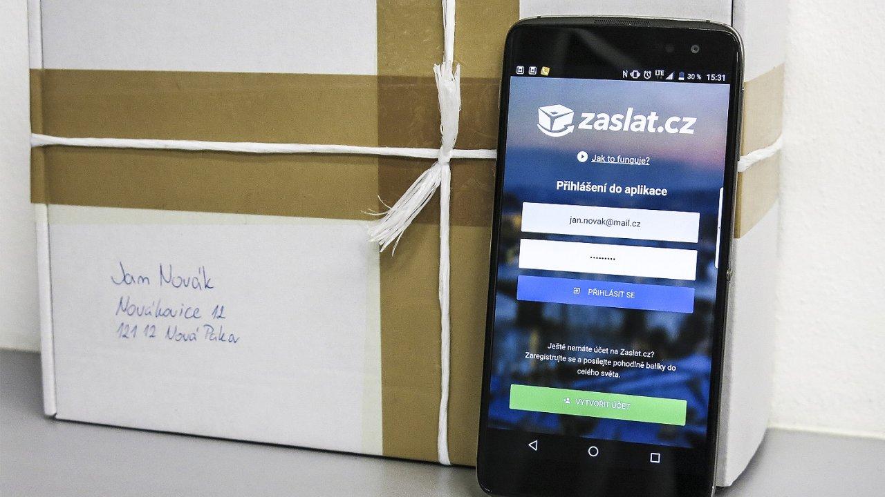 Aplikace Zaslat.cz pro mobilní telefon.