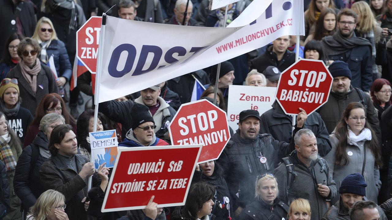 17. listopad, protestní průvod proti Andreji Babišovi