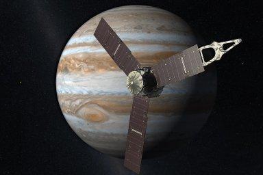V záznamech ze sondy Juno (model na fotografii), která kolem Jupiteru krouží po eliptické dráze od roku 2016, vědci našli nový typ krátkých pulzů. - Ilustrační foto.
