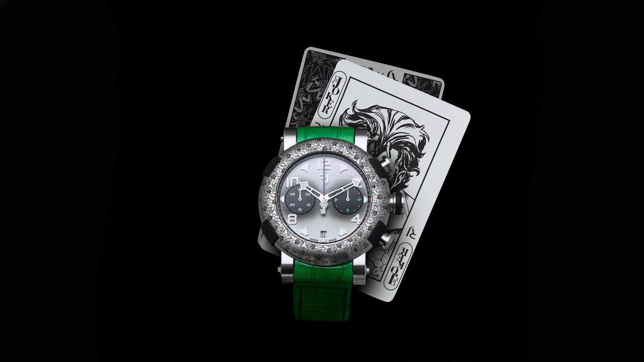 Limitovaná edice jokerovských hodinek. Mají podobu chronografu, jsou kdispozici sřemínky vetřech různých barvách (černé, zelené afialové) atitanovou lunetu zdobí laserem vyrytý motiv sJokerem.