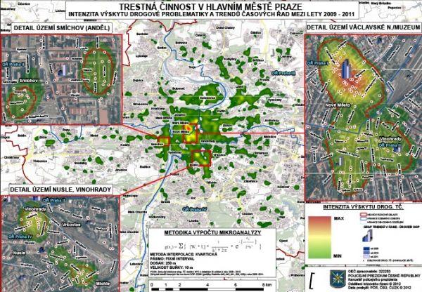 Obrázek ukazuje policejní mapku, která vizualizuje trestné činy spojené s drogami