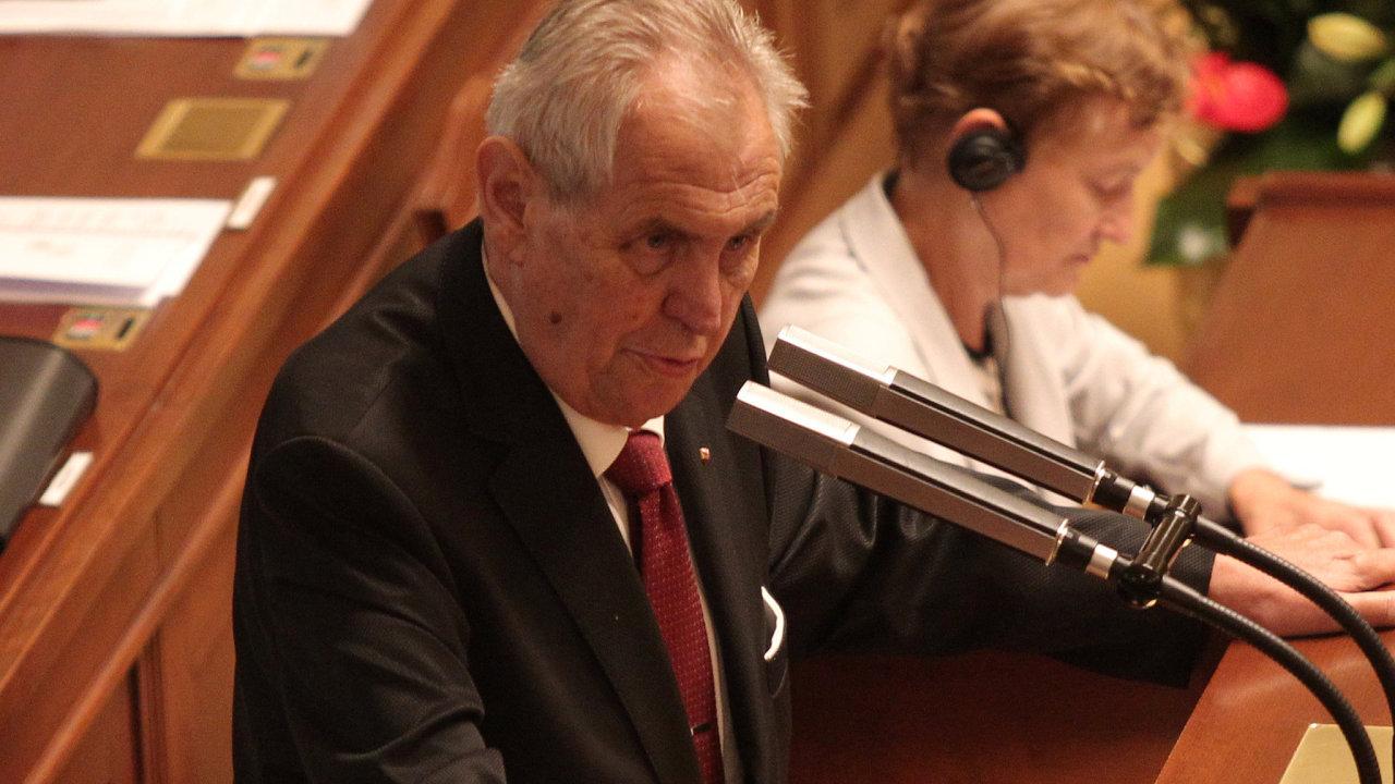 Prezident České republiky Miloš Zeman Poslanecká sněmovna