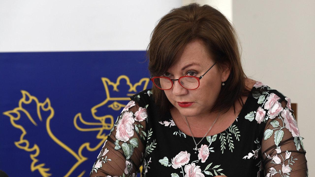 Ministryně financí Alena Schillerová hovořila 21. června 2019 v Praze s novináři na téma Aktuality z přípravy on-line finančního úřadu.