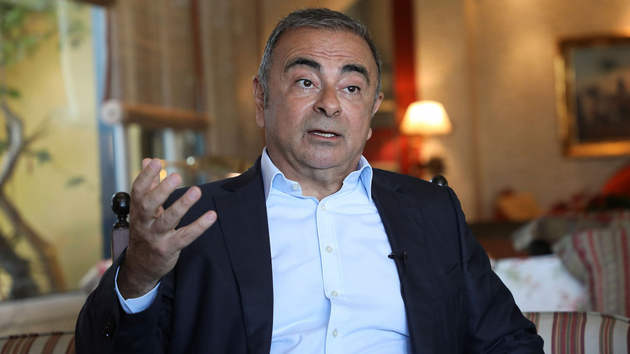 Former Nissan Chairman Carlos Ghosn talks during an interview with Reuters in Beirut