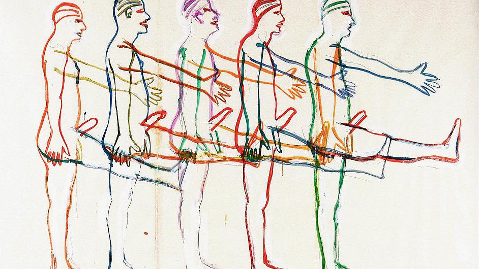 Obraz Bruce Naumana Bez názvu (Pět pochodujících mužů) pochází z jedné z předních světových sbírek