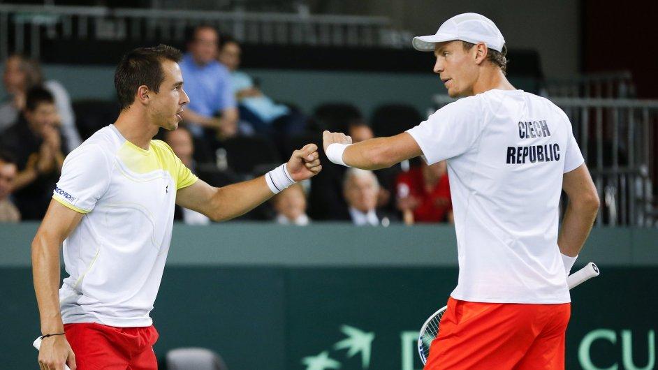 Tomáš Berdych a Lukáš Rosol ve čtyřhře Davis Cupu