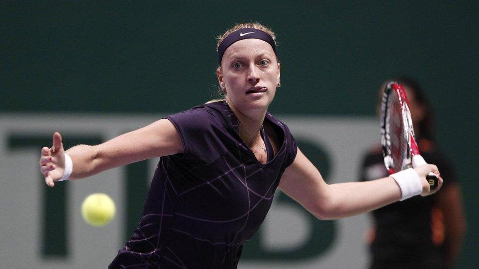 Petra Kvitová v utkání s Angelique Kerberovou na Turnaji mistryň