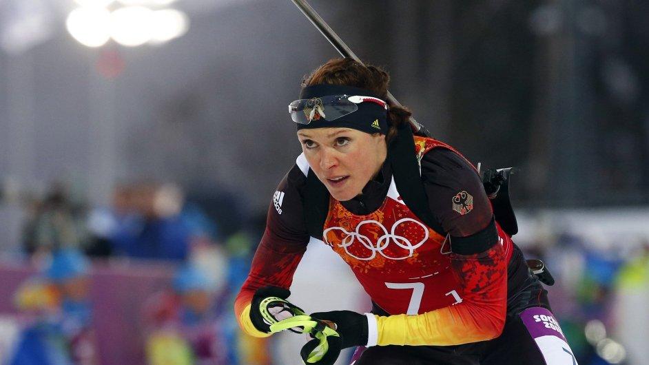Evi Sachenbacherová-Stehleová na olympijské trati v Soči