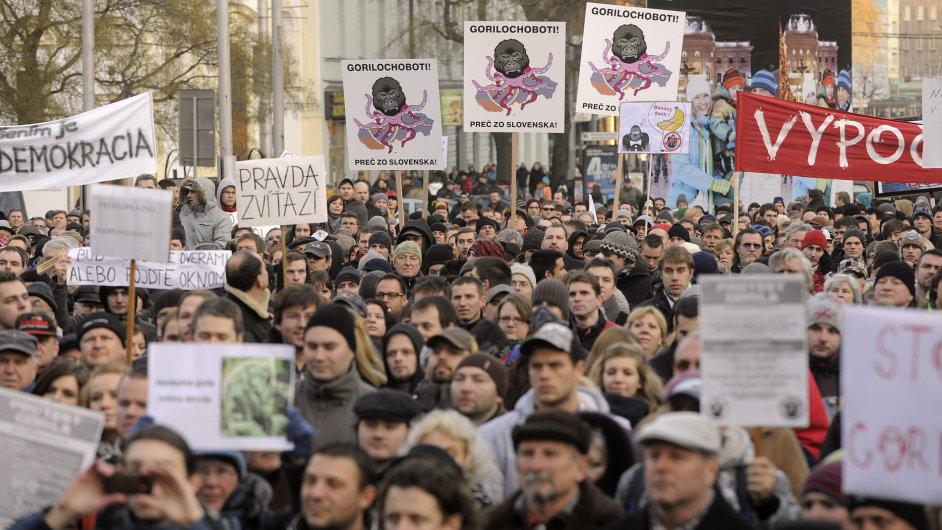 Protesty proti korupční kauze Gorila v Bratislavě, 27. ledna