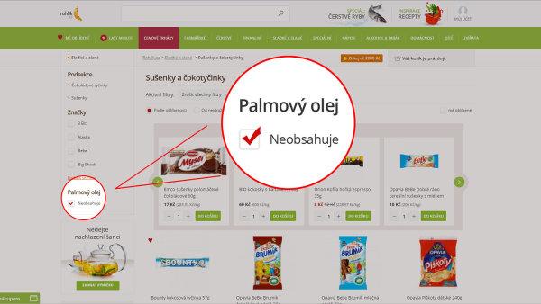 Internetov� supermarket Rohlik.cz na sv�ch str�nk�ch zavedl filtr pro kontroverzn� palmov� olej.