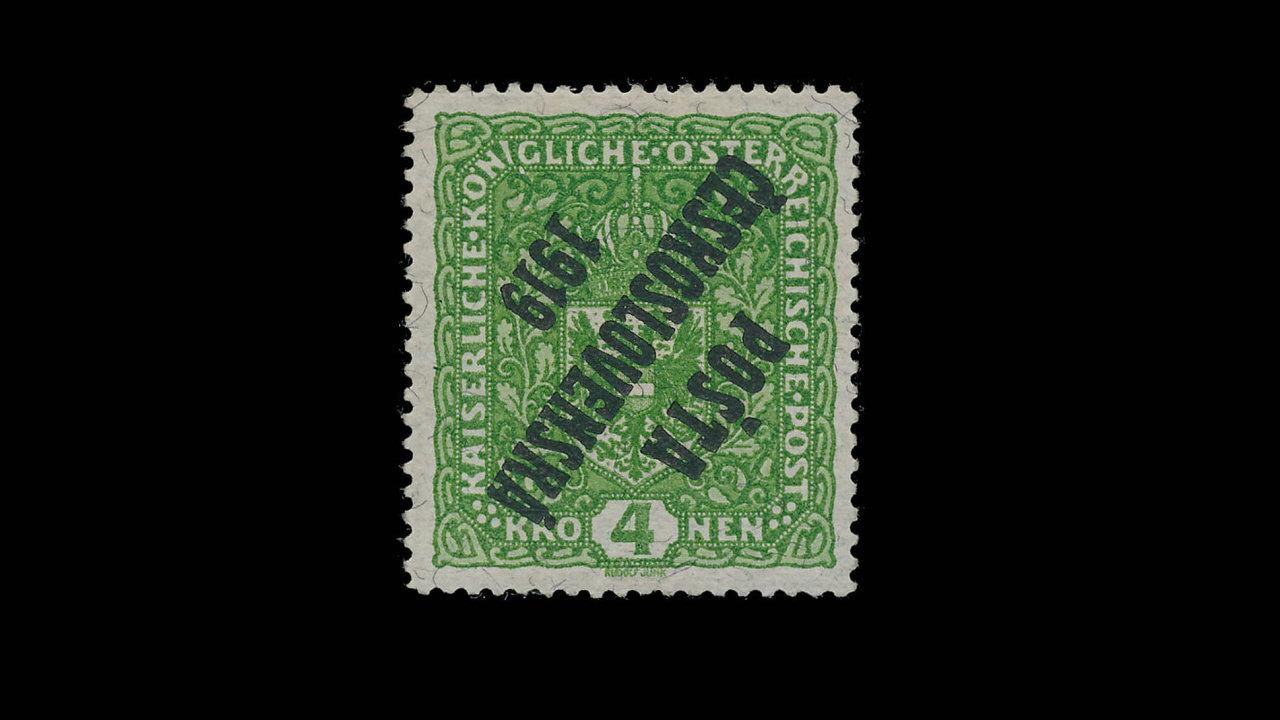 Žilkovaná čtyřkoruna spřevráceným přetiskem Pošta československá 1919se prodala za7,8 milionu korun.