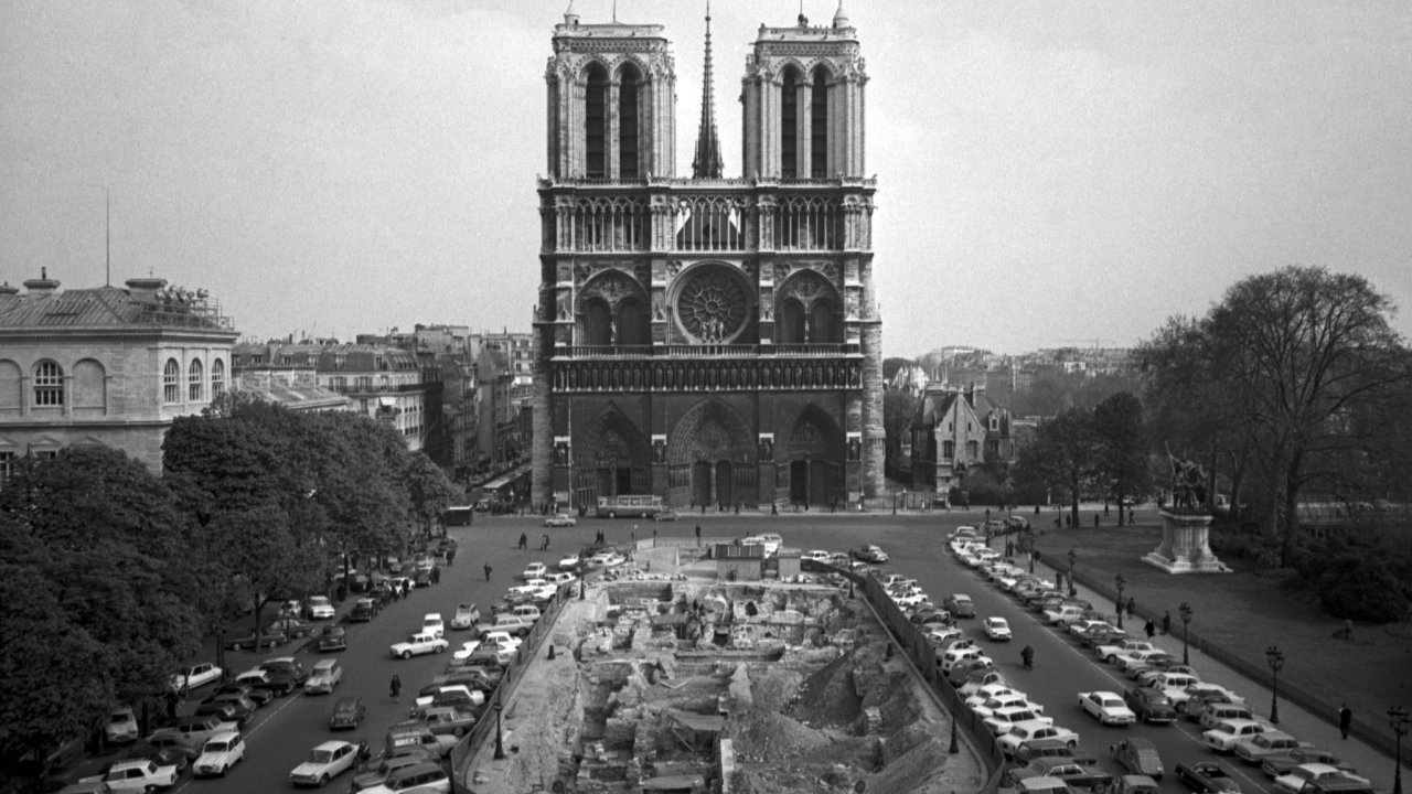 The front elevation of Notre Dame cathedral in Paris