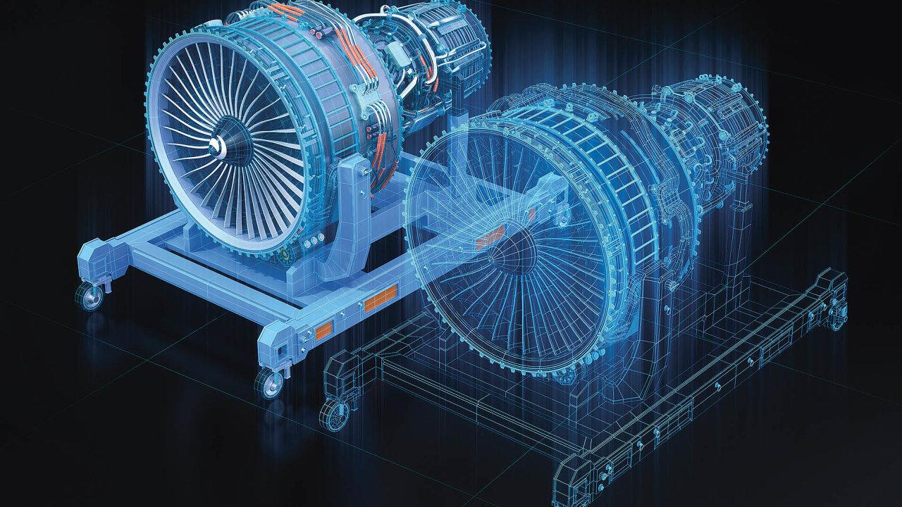 Vizualizace leteckého proudového motoru ajeho digitálního dvojčete.