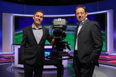 Generální ředitelé společnosti CME Michael Del Nin (vlevo) a Christoph Mainusch.