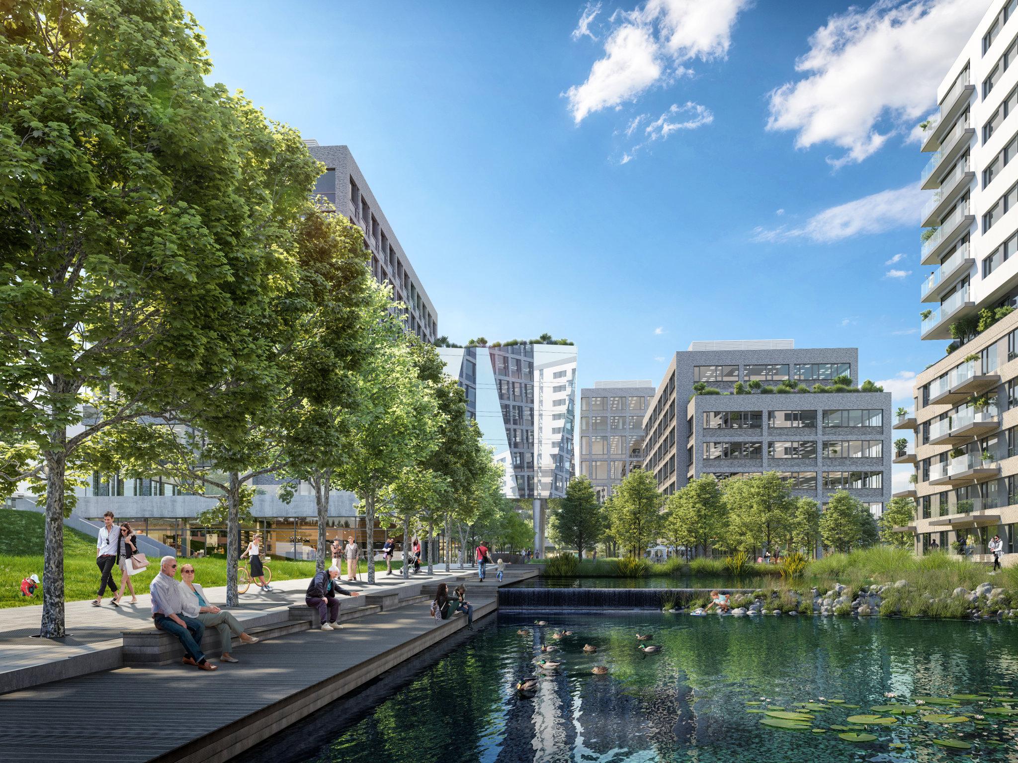 Nová čtvrť bude zahrnovat byty, kanceláře, obchodní plochy a veřejná prostranství.