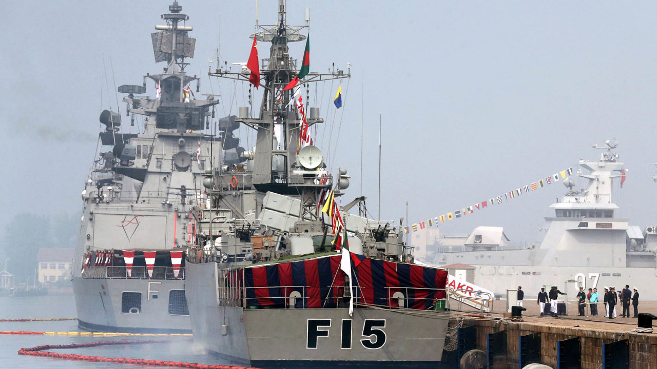 Foreign warships berth at a port during the 14th Western Pacific Naval Symposium in Qingdao city  Asia Pacific naval chiefs approved the regions first code of conduct for unplanned encounters between