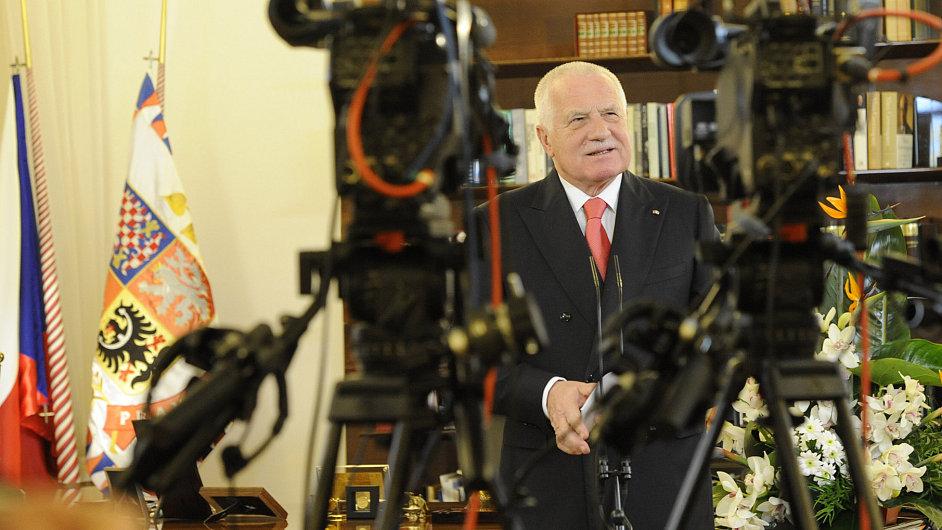 Václav Klaus během novoročního projevu.