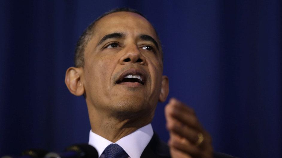 Barack Obama při projevu na Univerzitě národní obrany.