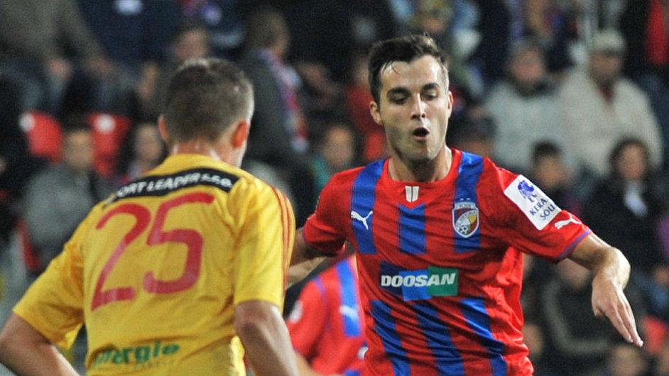 Martin Pospíšil při svém premiérovém zápase v dresu Viktorie Plzeň.