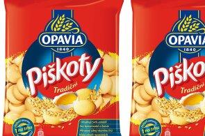 Původní obal piškotů Opavia před přesunem výroby do Polska.