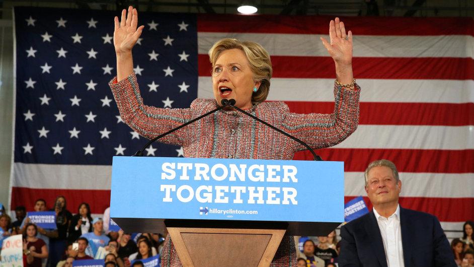 Demokratická kandidátka na prezidentku Spojených států Hillary Clintonová.