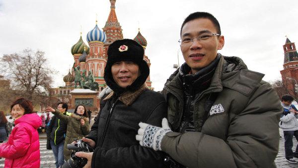 Čínští turisté v Moskvě.