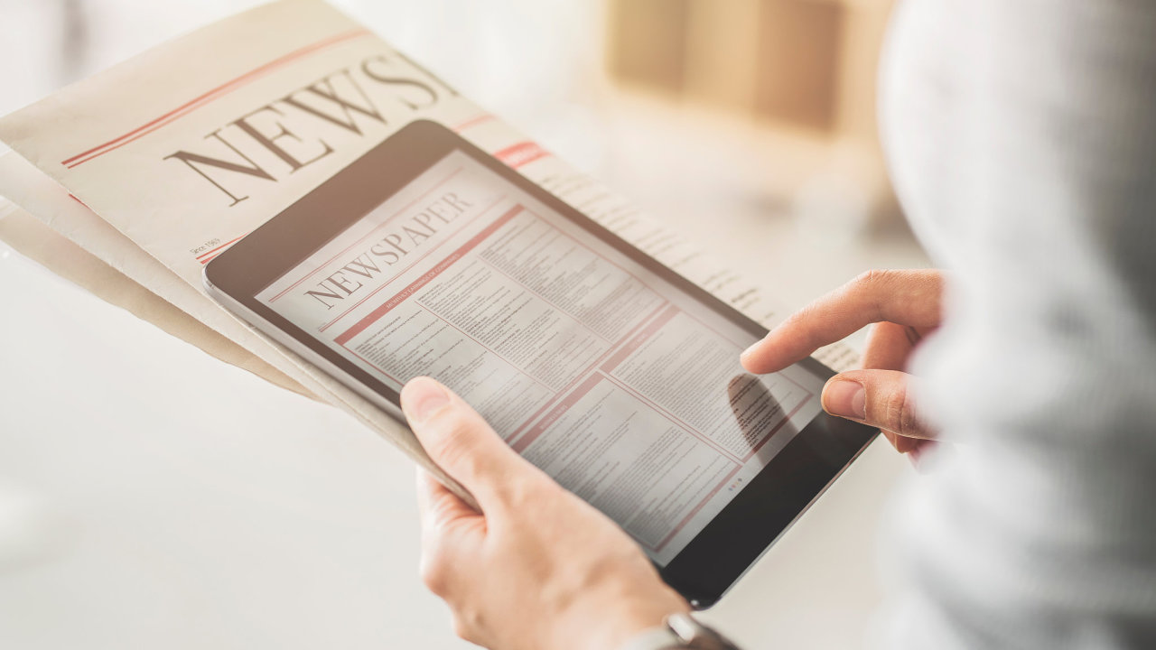 obsah, právo, tablet, noviny, článek