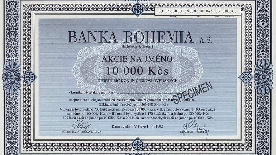 Akcie Banky Bohemia.