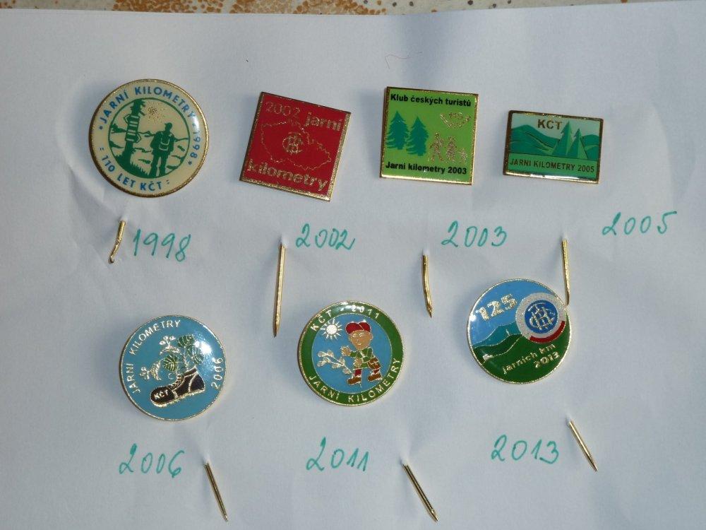 Turistické odznaky pochodů Jarní kilometry 1998-2013