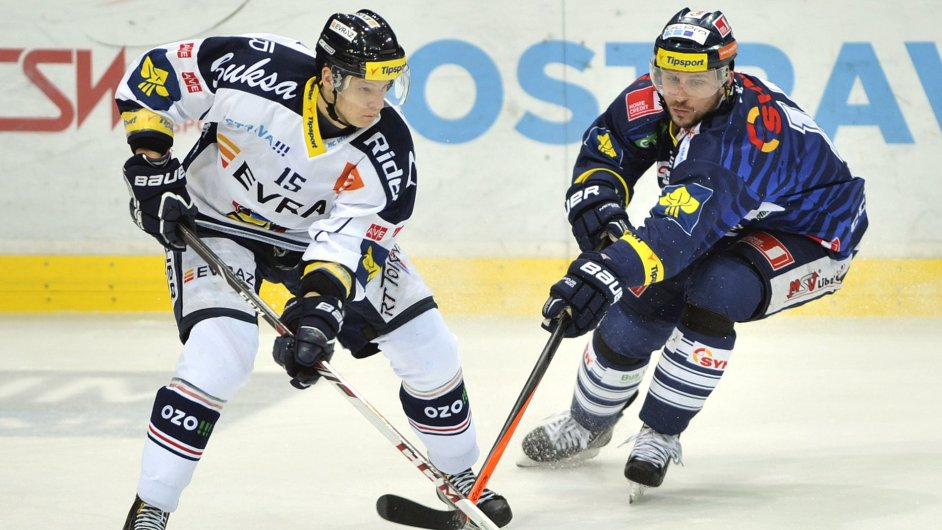 Erik Němec z Vítkovic (vlevo) a Petr Vampola z Liberce