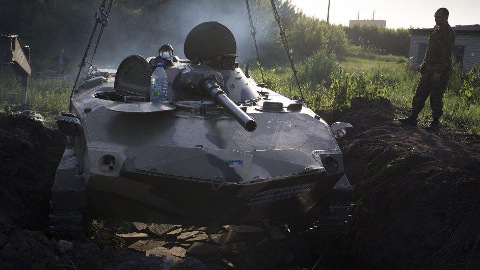 Pozice proruských ozbrojenců na východě Ukrajiny