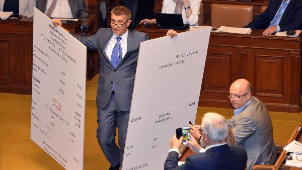 Poslanci debatovali o kontroverzním vládním návrhu na zavedení elektronické evidence tržeb. Na snímku ministr financí Andrej Babiš.